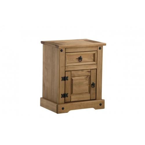 Corona Solid Oak 1 Drawer 1 Door Bedside Cabinet