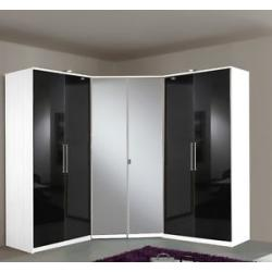 German 6 Door Corner Black Gloss White Mirror Wardrobe Flat Pack